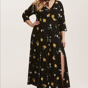 TORRID Black Yellow Floral Crochet Maxi Dress